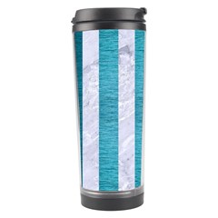 Stripes1 White Marble & Teal Brushed Metal Travel Tumbler