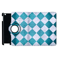 Square2 White Marble & Teal Brushed Metal Apple Ipad 2 Flip 360 Case by trendistuff