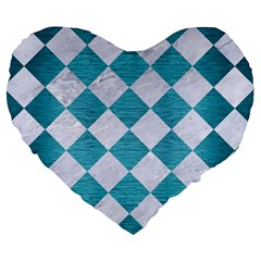 Square2 White Marble & Teal Brushed Metal Large 19  Premium Heart Shape Cushions by trendistuff