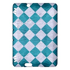 Square2 White Marble & Teal Brushed Metal Kindle Fire Hdx Hardshell Case by trendistuff