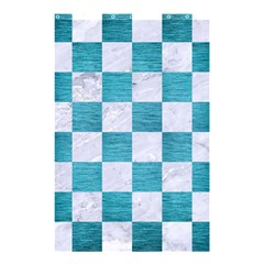 Square1 White Marble & Teal Brushed Metal Shower Curtain 48  X 72  (small)  by trendistuff