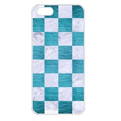 Square1 White Marble & Teal Brushed Metal Apple Iphone 5 Seamless Case (white) by trendistuff