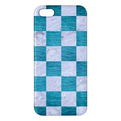 Square1 White Marble & Teal Brushed Metal Iphone 5s/ Se Premium Hardshell Case by trendistuff