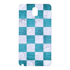 Square1 White Marble & Teal Brushed Metal Samsung Galaxy Note 3 N9005 Hardshell Back Case by trendistuff