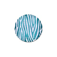 Skin4 White Marble & Teal Brushed Metal (r) Golf Ball Marker (4 Pack)