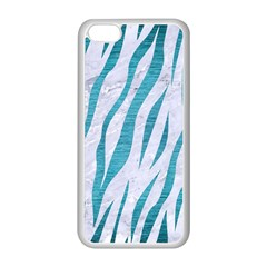 Skin3 White Marble & Teal Brushed Metal (r) Apple Iphone 5c Seamless Case (white) by trendistuff