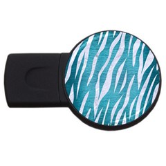 Skin3 White Marble & Teal Brushed Metal Usb Flash Drive Round (4 Gb) by trendistuff
