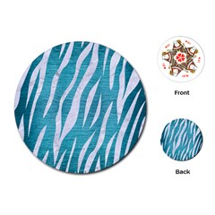 Skin3 White Marble & Teal Brushed Metal Playing Cards (round)  by trendistuff