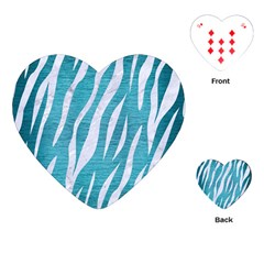 Skin3 White Marble & Teal Brushed Metal Playing Cards (heart)  by trendistuff