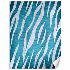 Skin3 White Marble & Teal Brushed Metal Canvas 36  X 48   by trendistuff