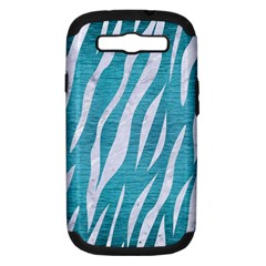 Skin3 White Marble & Teal Brushed Metal Samsung Galaxy S Iii Hardshell Case (pc+silicone) by trendistuff