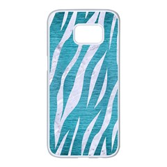 Skin3 White Marble & Teal Brushed Metal Samsung Galaxy S7 Edge White Seamless Case by trendistuff