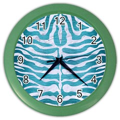 Skin2 White Marble & Teal Brushed Metal Color Wall Clocks