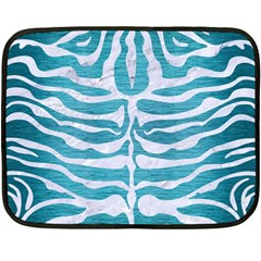 Skin2 White Marble & Teal Brushed Metal Double Sided Fleece Blanket (mini)  by trendistuff