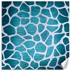 Skin1 White Marble & Teal Brushed Metal (r) Canvas 16  X 16   by trendistuff