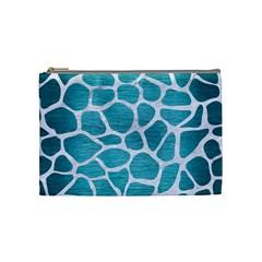 Skin1 White Marble & Teal Brushed Metal (r) Cosmetic Bag (medium)  by trendistuff
