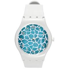 Skin1 White Marble & Teal Brushed Metal (r) Round Plastic Sport Watch (m) by trendistuff
