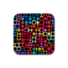 Colorful Rhombus And Triangles                                Rubber Square Coaster (4 Pack by LalyLauraFLM