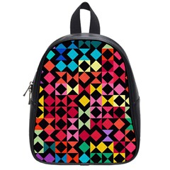 Colorful Rhombus And Triangles                                School Bag (small) by LalyLauraFLM