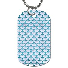 Scales3 White Marble & Teal Brushed Metal (r) Dog Tag (two Sides) by trendistuff