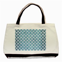 Scales3 White Marble & Teal Brushed Metal (r) Basic Tote Bag (two Sides) by trendistuff