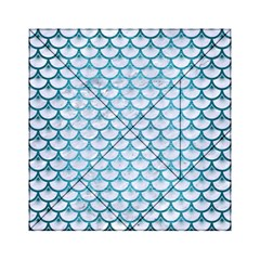 Scales3 White Marble & Teal Brushed Metal (r) Acrylic Tangram Puzzle (6  X 6 ) by trendistuff