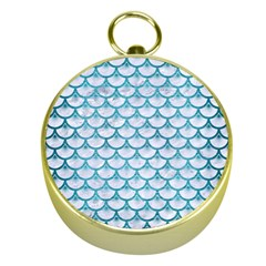 Scales3 White Marble & Teal Brushed Metal (r) Gold Compasses by trendistuff