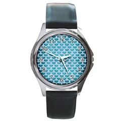 Scales3 White Marble & Teal Brushed Metal Round Metal Watch by trendistuff