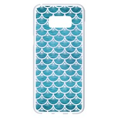 Scales3 White Marble & Teal Brushed Metal Samsung Galaxy S8 Plus White Seamless Case by trendistuff