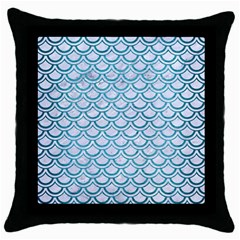 Scales2 White Marble & Teal Brushed Metal (r) Throw Pillow Case (black) by trendistuff