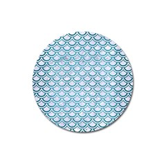 Scales2 White Marble & Teal Brushed Metal (r) Magnet 3  (round) by trendistuff