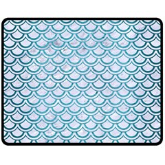Scales2 White Marble & Teal Brushed Metal (r) Double Sided Fleece Blanket (medium)  by trendistuff