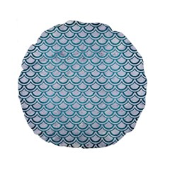 Scales2 White Marble & Teal Brushed Metal (r) Standard 15  Premium Flano Round Cushions by trendistuff