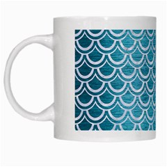 Scales2 White Marble & Teal Brushed Metal White Mugs by trendistuff