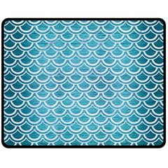 Scales2 White Marble & Teal Brushed Metal Double Sided Fleece Blanket (medium)  by trendistuff