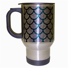 Scales1 White Marble & Teal Brushed Metal (r) Travel Mug (silver Gray) by trendistuff