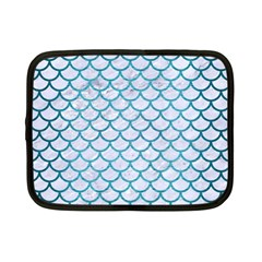 Scales1 White Marble & Teal Brushed Metal (r) Netbook Case (small)  by trendistuff