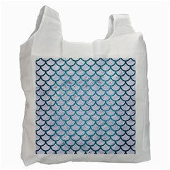 Scales1 White Marble & Teal Brushed Metal (r) Recycle Bag (two Side)  by trendistuff