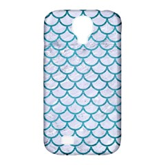 Scales1 White Marble & Teal Brushed Metal (r) Samsung Galaxy S4 Classic Hardshell Case (pc+silicone) by trendistuff