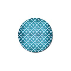 Scales1 White Marble & Teal Brushed Metal Golf Ball Marker (4 Pack)