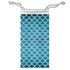 Scales1 White Marble & Teal Brushed Metal Jewelry Bag by trendistuff