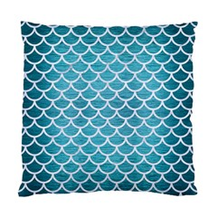Scales1 White Marble & Teal Brushed Metal Standard Cushion Case (two Sides) by trendistuff