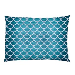 Scales1 White Marble & Teal Brushed Metal Pillow Case by trendistuff