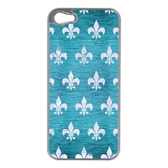 Royal1 White Marble & Teal Brushed Metal (r) Apple Iphone 5 Case (silver) by trendistuff