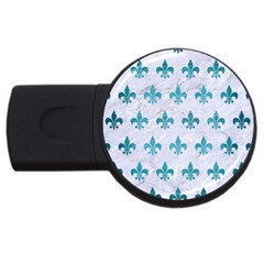 Royal1 White Marble & Teal Brushed Metal Usb Flash Drive Round (4 Gb) by trendistuff
