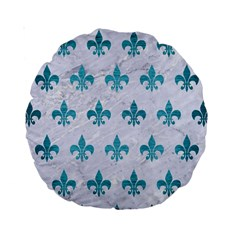 Royal1 White Marble & Teal Brushed Metal Standard 15  Premium Round Cushions by trendistuff