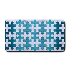 Puzzle1 White Marble & Teal Brushed Metal Medium Bar Mats