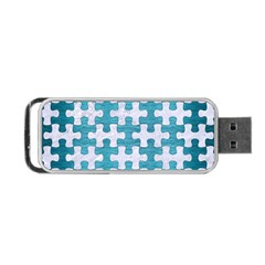 Puzzle1 White Marble & Teal Brushed Metal Portable Usb Flash (two Sides) by trendistuff