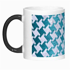 Houndstooth2 White Marble & Teal Brushed Metal Morph Mugs by trendistuff