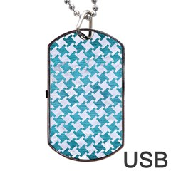 Houndstooth2 White Marble & Teal Brushed Metal Dog Tag Usb Flash (two Sides) by trendistuff